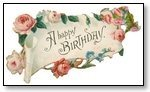 Happy Birthday white scroll with pink carnation 114