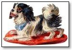 Dog on red mat 115