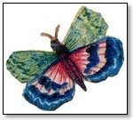 Butterfly green, blue, pink wings 195