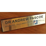 Desk sign on timber base