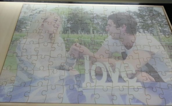Jigsaw timber 900 x 600 mm with soft tone print for wedding guests