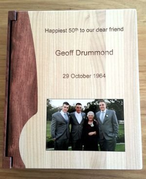 Timber photo album with engraving and colour photo print