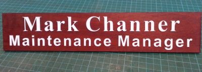 Desk sign in Red gum with white acrylic letters