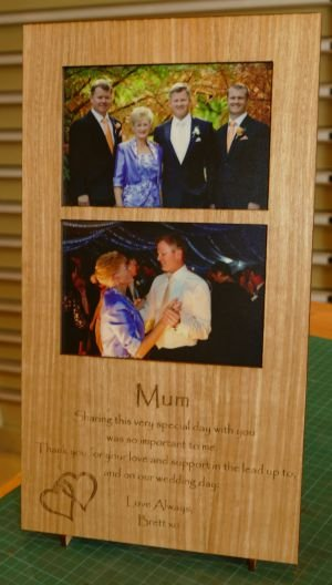Home photo frame in engraved timber