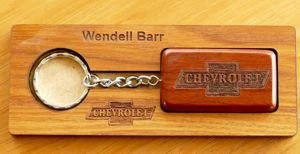Engraved key ring in timber gift display