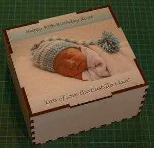 Printed jigsaw in timber box for baby