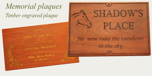 Memorial plate engraved timber