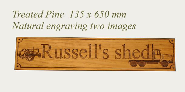 Treated Pine 135 x 650 mm with images engraved