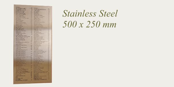Stainless Steel sign 500 x 250 mm