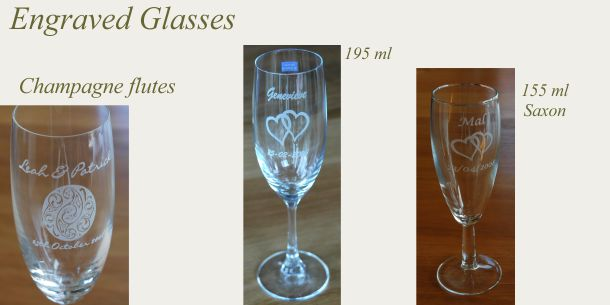 Engraved champagne glass engraved flutes