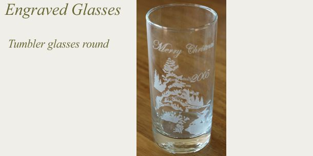 Engraved tumbler glass round