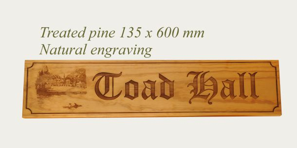 Treated Pine 135 x 600 mm Natural engraving