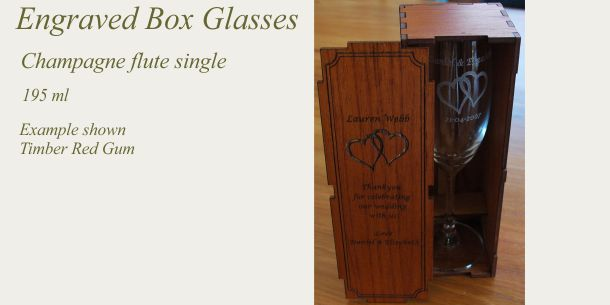 Engraved champagne flute red gum box