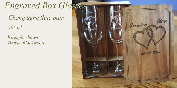 Engraved champagne flute pair blackwood box