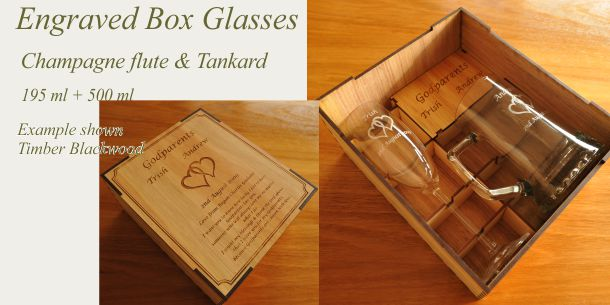 Engraved champagne flute and tankard blackwood box