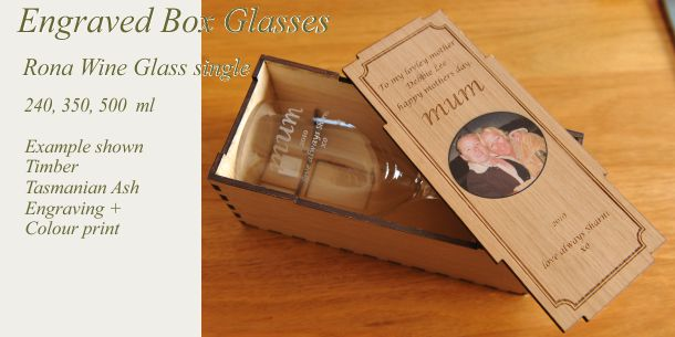 Engraved wine glass single Tasmanian ash box