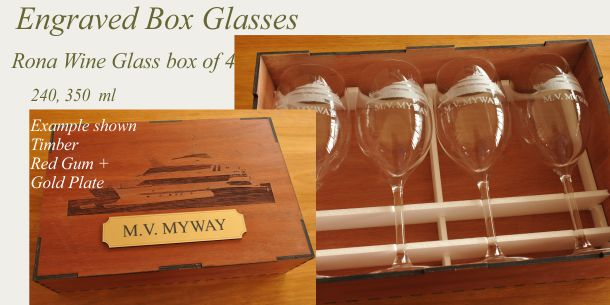 engraved wine glass set of 6 red gum box