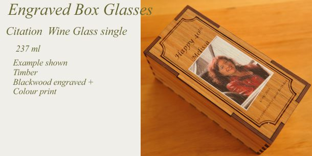 engraved citation wine glass blackwood box