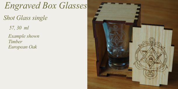 engraved shot glass European Oak box