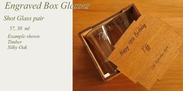engraved shot glass pair silky oak box