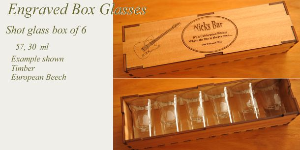 engraved shot glass set of 6 European Beech box