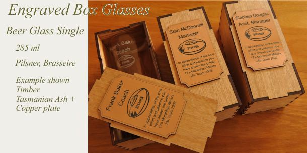 engraved beer glass Tasmanian Ash box