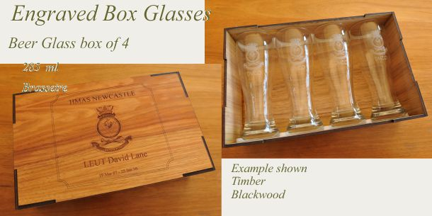 engraved beer glass set of 4 blackwood box