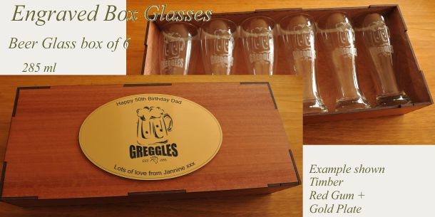 engraved beer glass set of 6 Red Gum box