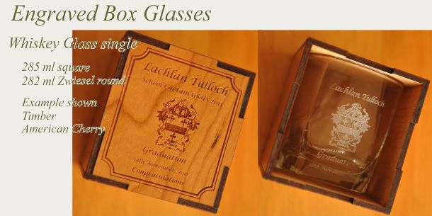 engraved whisky glass American Cherry box