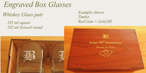 engraved whisky glass pair Red Gum box
