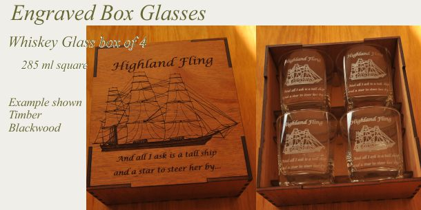 engraved whisky glass set of 4 Blackwood box