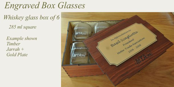 engraved whisky glass set of 6 Jarrah box