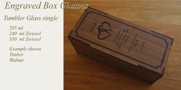 engraved tumbler glass Walnut box