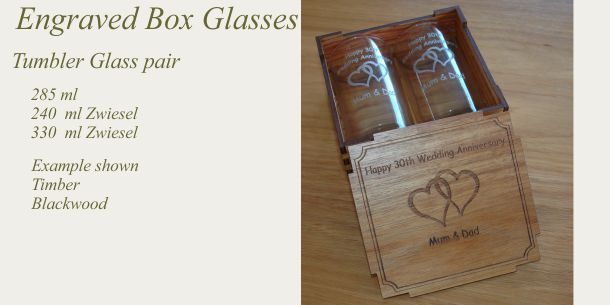 engraved tumbler glass pair Blackwood box