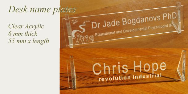 Desk sign acrylic clear