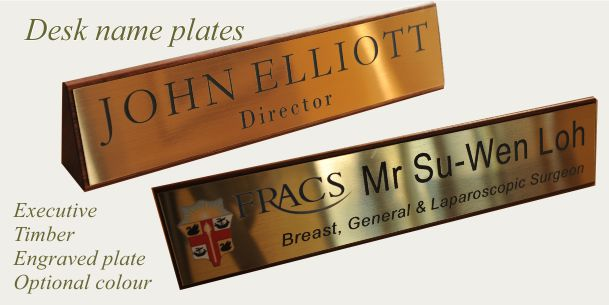 Desk sign timber executive