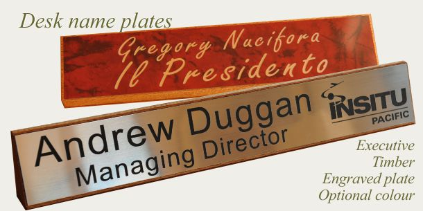 Desk sign executive timber engraved plate