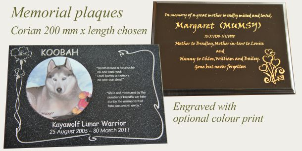 memorial plate corian 200 mm x size chosen