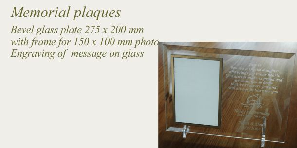 memorial glass plate engraved for photo