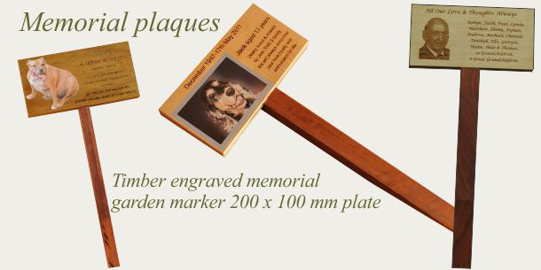 Memorial garden marker printed and or engraved timber