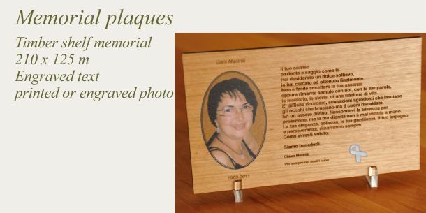 memorial shelf plaque engraved and or printed