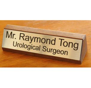 Wooden desk signs for professionals