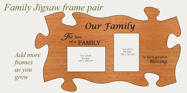 Family photo frame pair in American Cherry