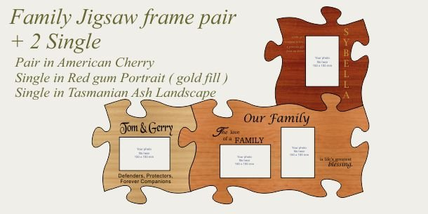Family photo frames pair 2 single frames