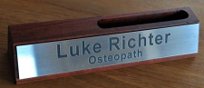 Desk Name Plate Card Holder Timber 250 mm long