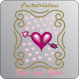 Thumb_Square Congratulations printed coaster on board
