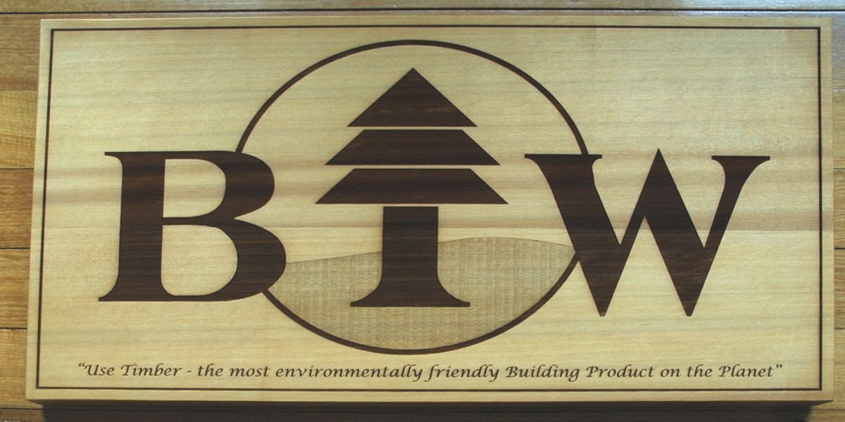 Thumb_Western Red Cedar wooden sign, Logo and text engraved