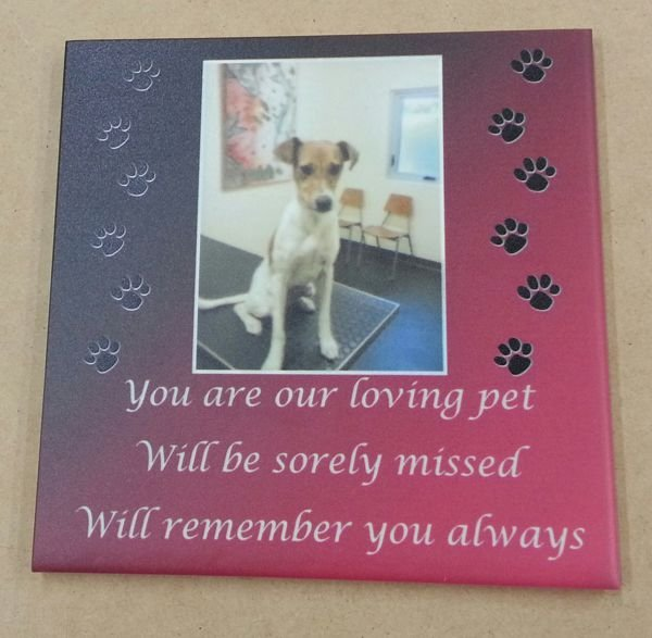 Thumb_Dog memorial photo print on tile with color shaded background