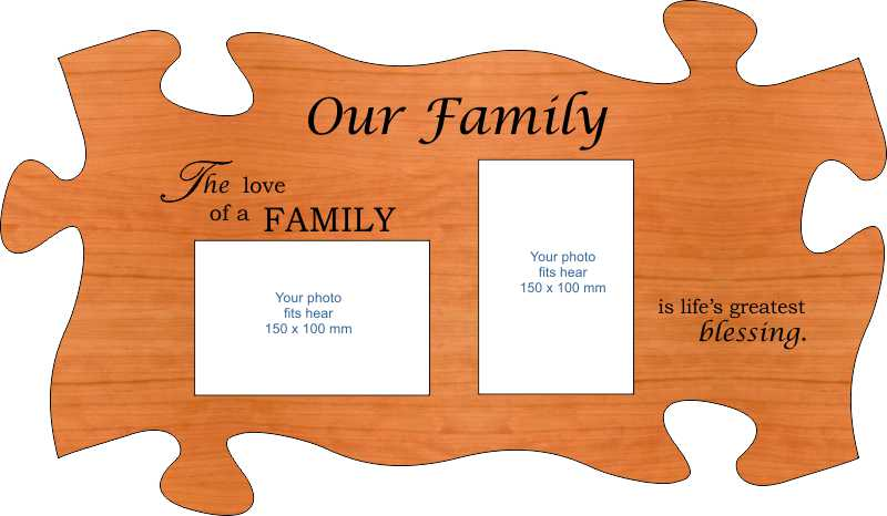 Timber engraved Family Photo frame jigsaw pair