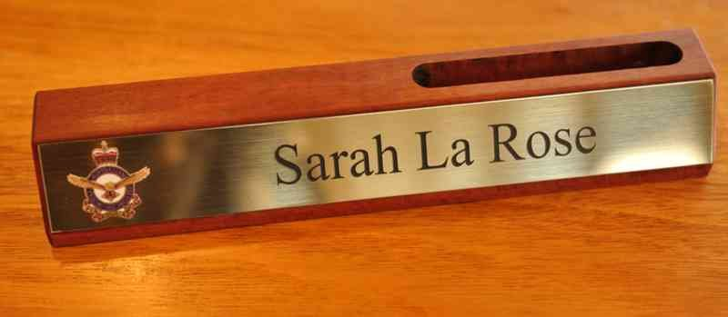 Red gum desk plate with card holder printed and engraved